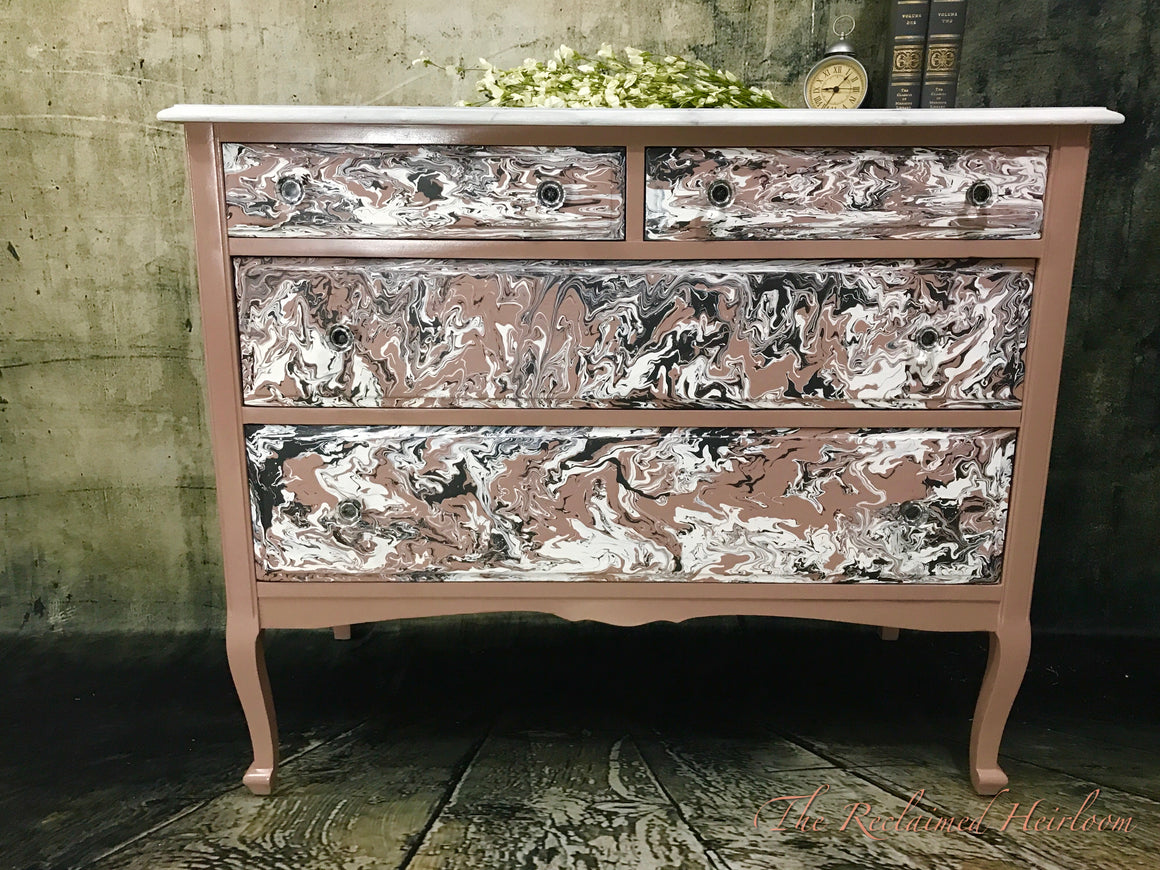 Reclaimed Heirloom's: Dusty Rose Dresser with Faux Marble Top