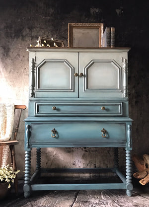 Reclaimed Heirloom's: Blue Ombre Tall Wardrobe 4 Drawer Dresser