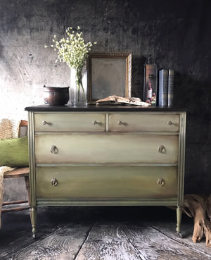 Reclaimed Heirloom's: Olive 4 Drawer Dresser with Espresso Brown Top