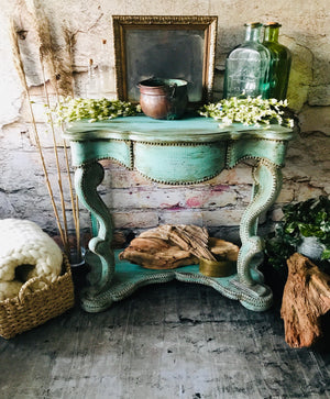Reclaimed Heirloom's: Green Patina Entry Table