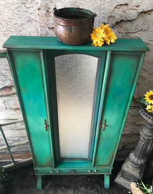 Reclaimed Heirloom's: Emerald Green Mirrored Jewelry Cabinet