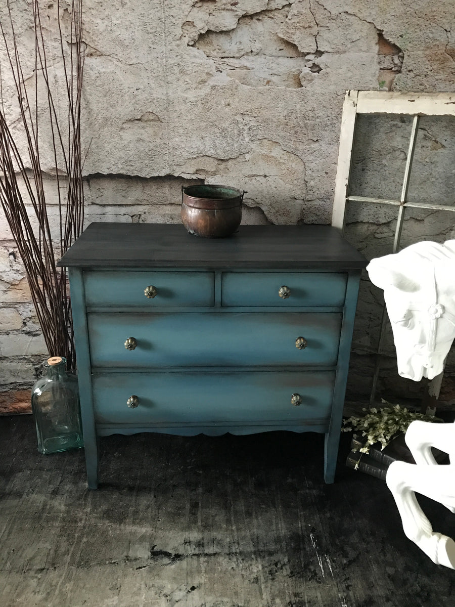 Reclaimed Heirloom's: Faux Wood Top- 4 Drawer Dresser