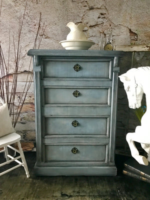 Reclaimed Heirloom's: Louis Blue Tall Boy 4 Drawer Dresser