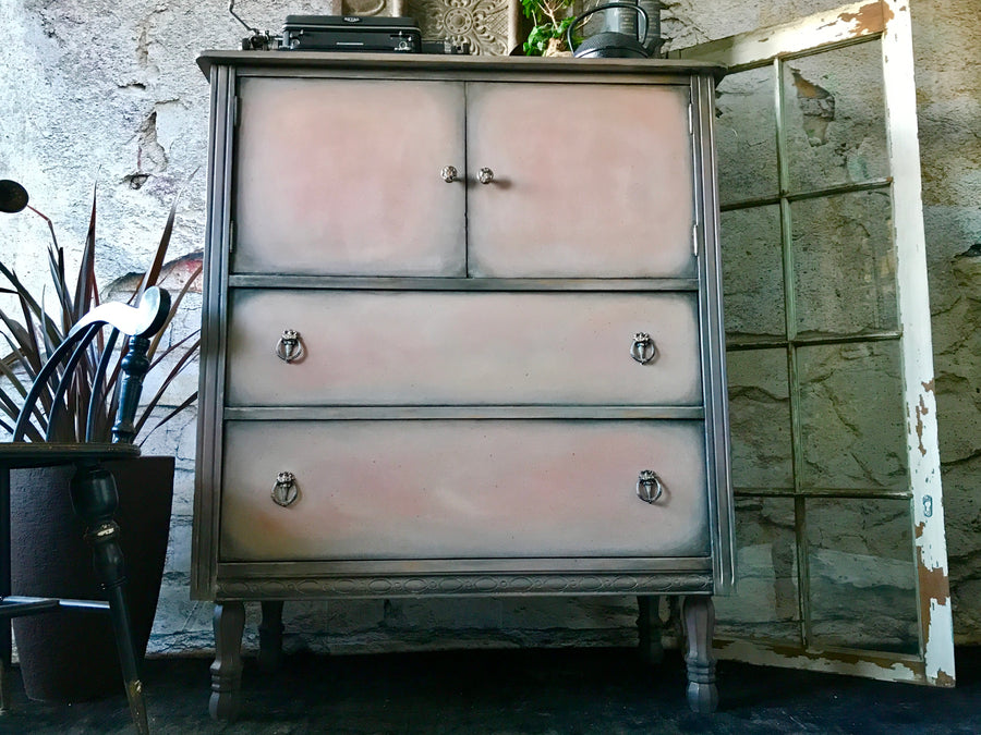 Reclaimed Heirloom's: Scandinavian Pink Tall Wardrobe 4 Drawer Dresser