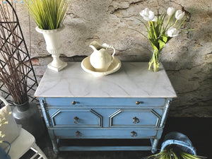 Reclaimed Heirloom's: Greek Blue with Faux Marble Top 3 Drawer Dresser