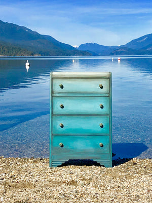 Reclaimed Heirloom's: Coastal Blue- 4 Drawer Dresser