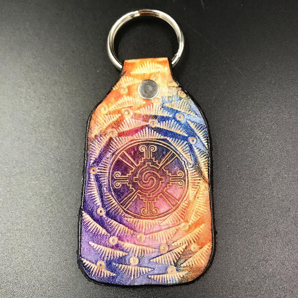 Stamped Leather Keychain- Hunab Ku (Galactic Butterfly