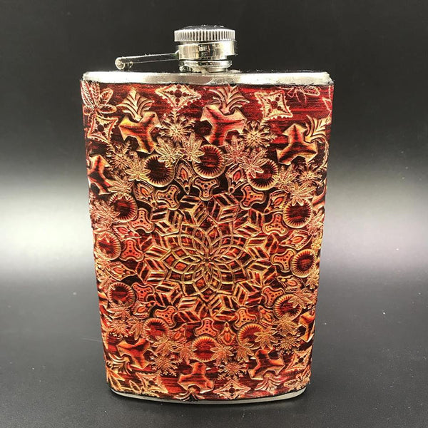 Stamped Leather 10 0z Flask-Sweet Leaf