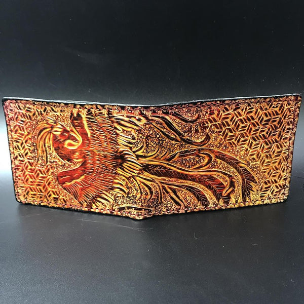 Carved Leather Bifold Wallet-Wild Life and Nature