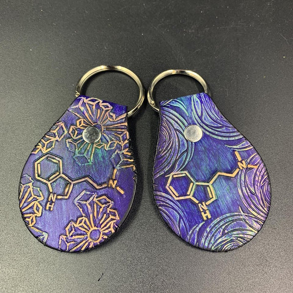 Stamped Leather Keychain-DMT Molecule