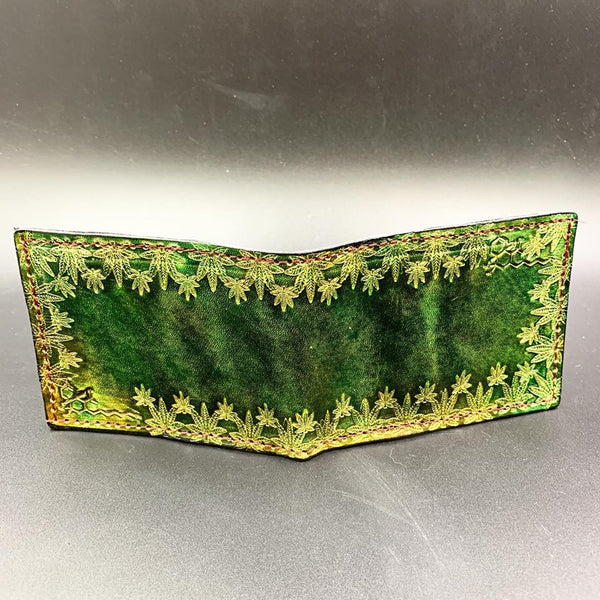 Stamped Leather Bifold Wallet- Cannabis
