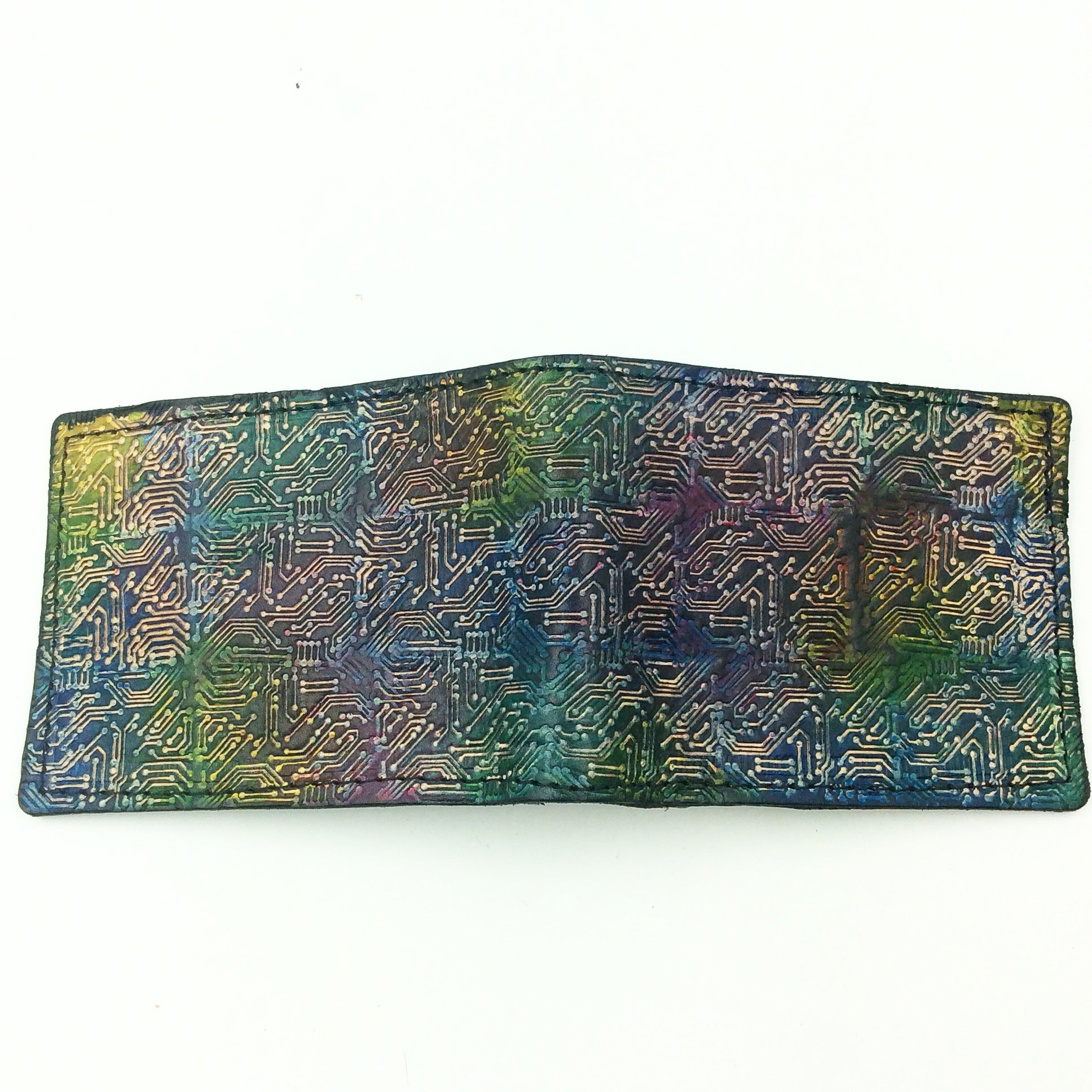 Stamped Leather Bifold Wallet-Circuit Board