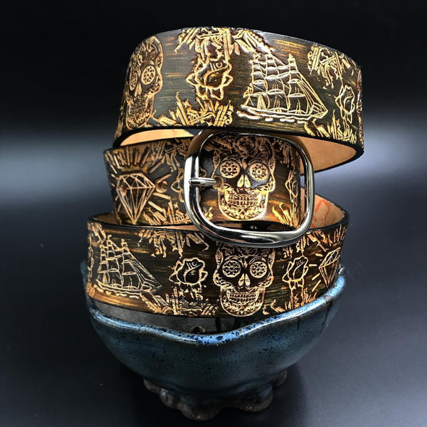 Stamp Leather Belt-Sugar Skulls & Pirate
