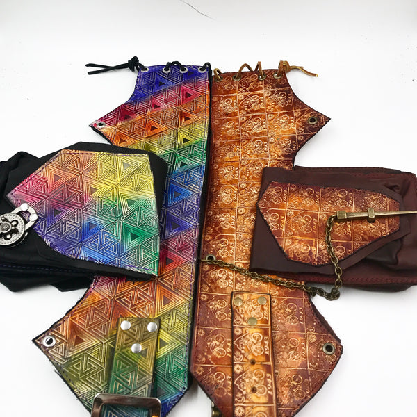Stamped Leather Utility Hip Belt- Miscellaneous Designs