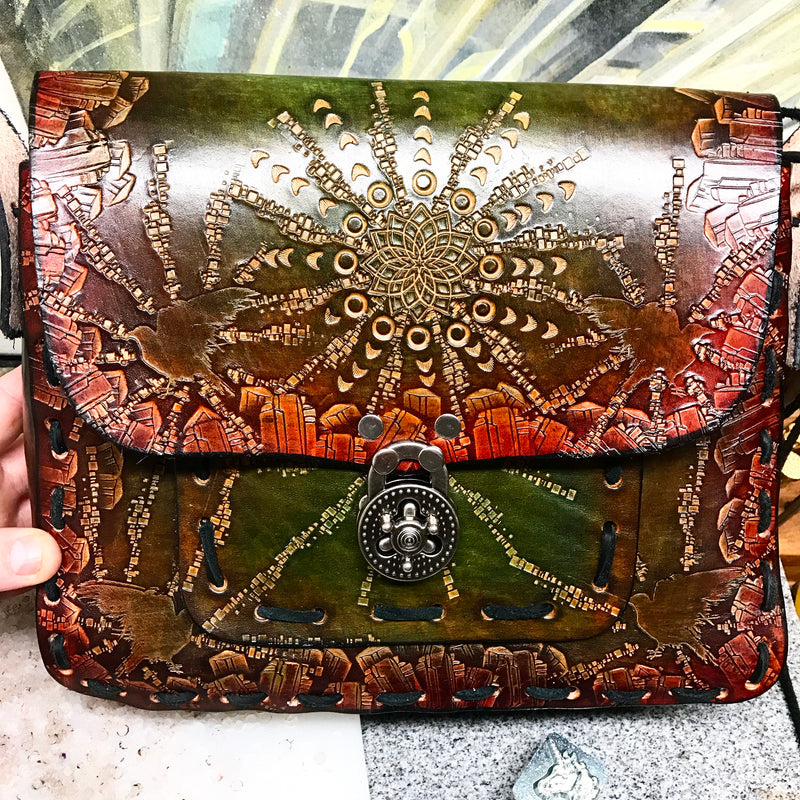 Stamped Leather Messenger Bag/Large Purse-Miscellaneous Designs