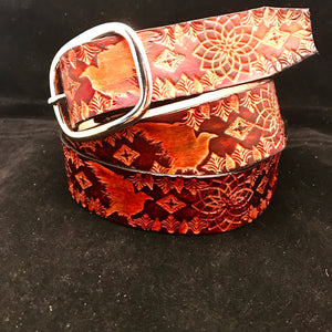 Stamped Leather Belt- Classy/Dress