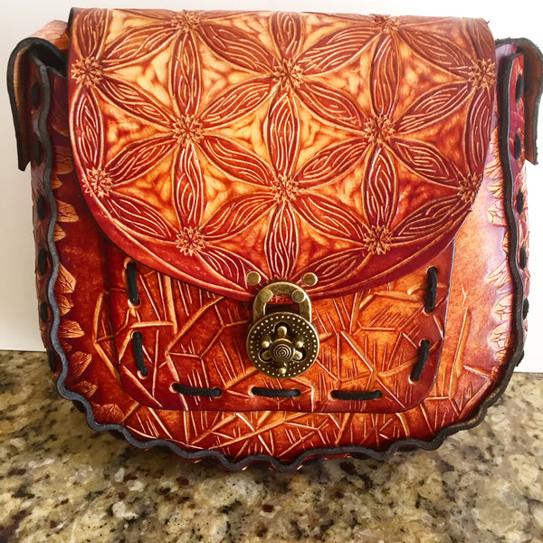 Carved Leather Purse Large Round- Miscellaneous Designs