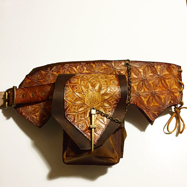 Carved Leather Utility Hip Belt- Miscellaneous Designs