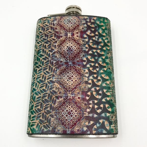 Stamped Leather 10 oz Flask-Geometric Patterns