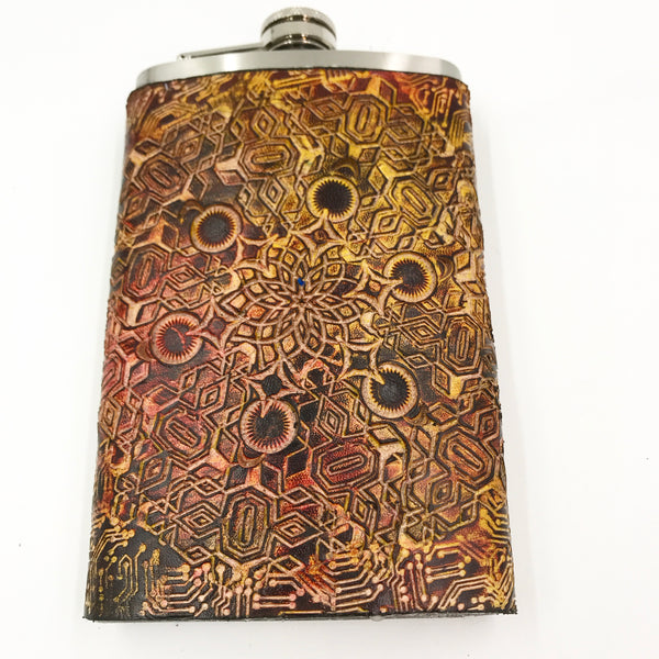 Stamped Leather Flask-Expanding Geometry