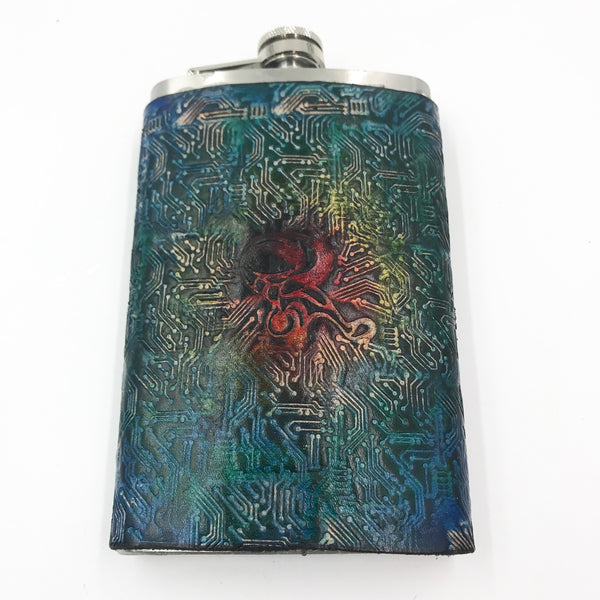 Stamped Leather 10 oz Flask-Assorted Music