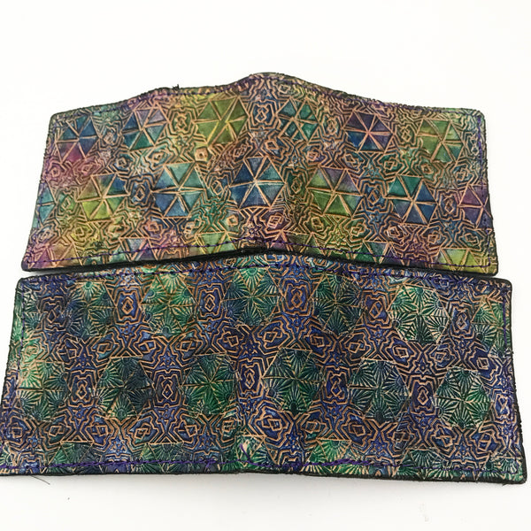 Stamped Leather Bifold Wallet- Morphing Geometric Patterns