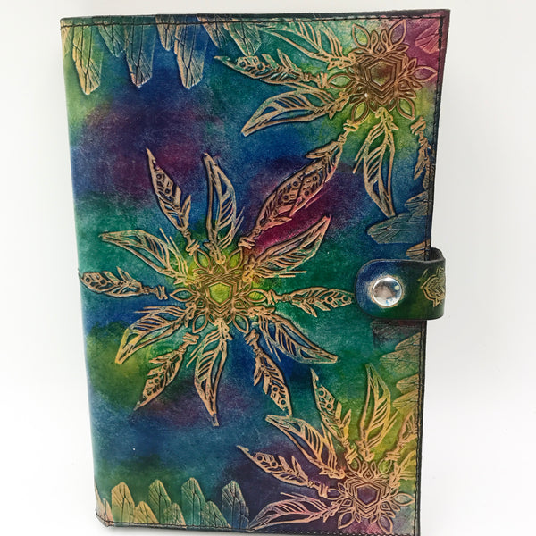 Stamped Leather Journal- Crystals and Feathers