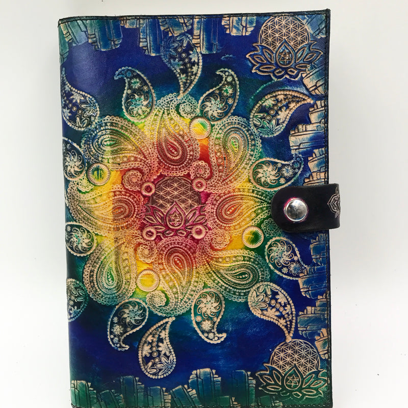 Stamped Leather Journal-Paisley Mandala