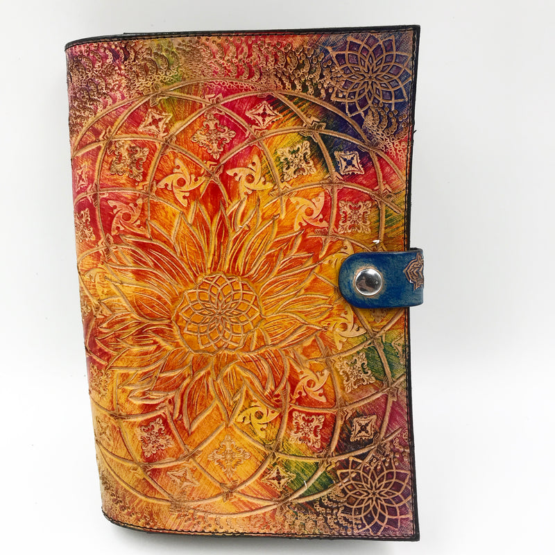 Carved Leather Journal-Circle Mandala