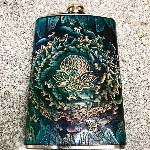 Stamped Leather 10 oz Flask-Digital Energy