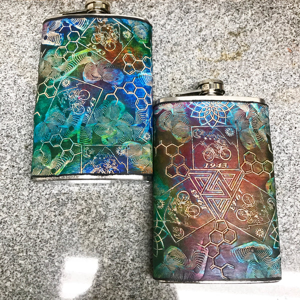 Stamped Leather Flask- Bicycle Day