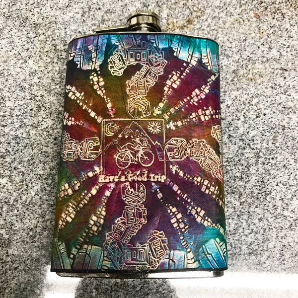 Stamped Leather Flask- Tip