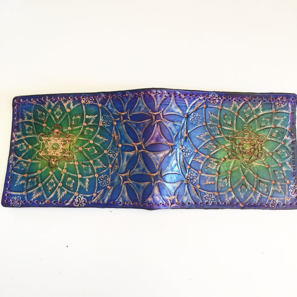 Carved Leather Bifold Wallet- Flower of Life