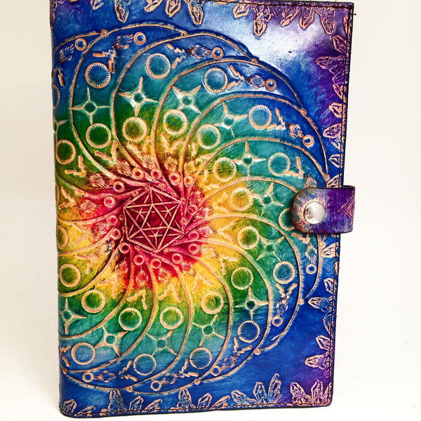 Carved Leather Journal- Circle Mandala
