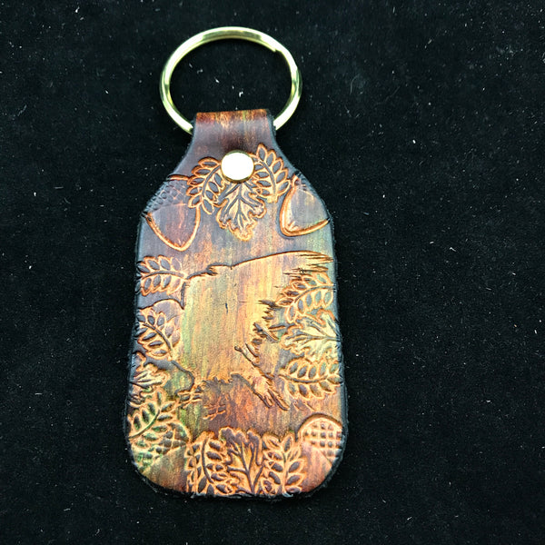 Stamped Leather Keychain-Crow/Raven