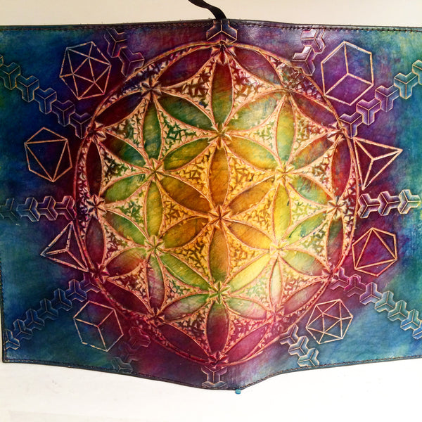 Carved Leather Journal- Flower of Life