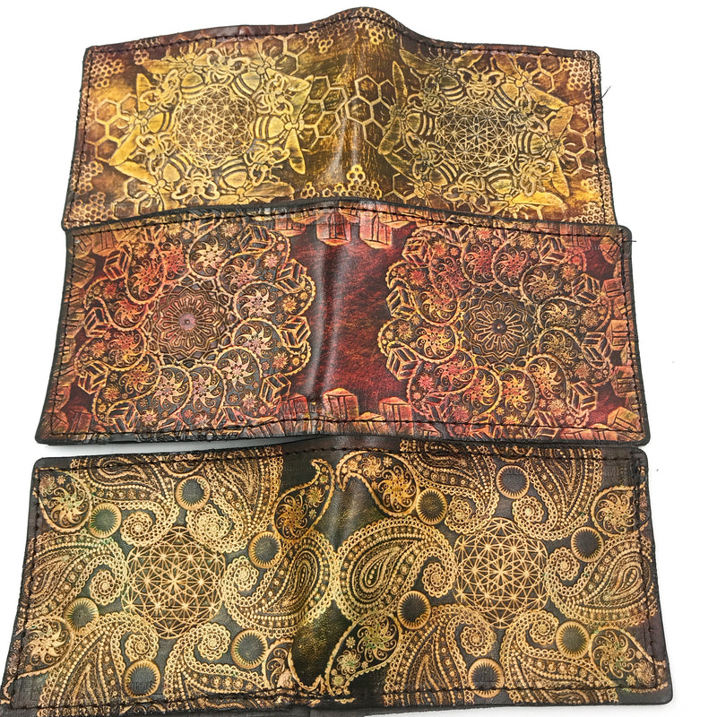 Stamped Leather Bifold Wallet-Classy Mandala