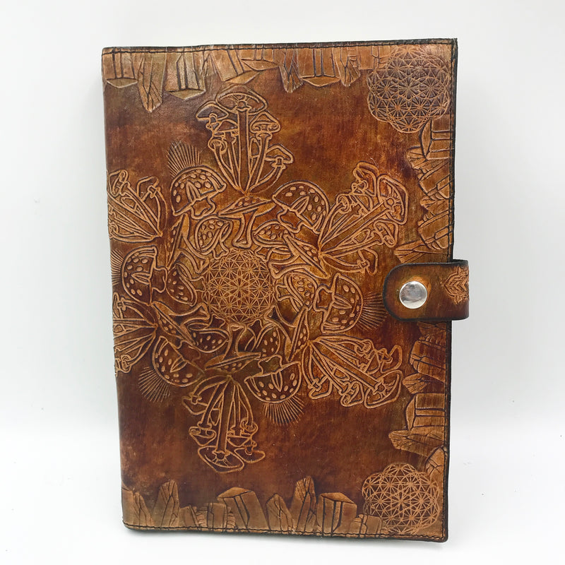 Stamped Leather Journal-Faeries and Mushrooms
