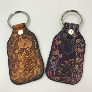 Stamped Leather Keychain- 13 Point Lightning Bolt