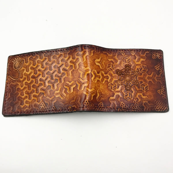 Stamped Leather Bifold Wallet- Crumbling Goyard