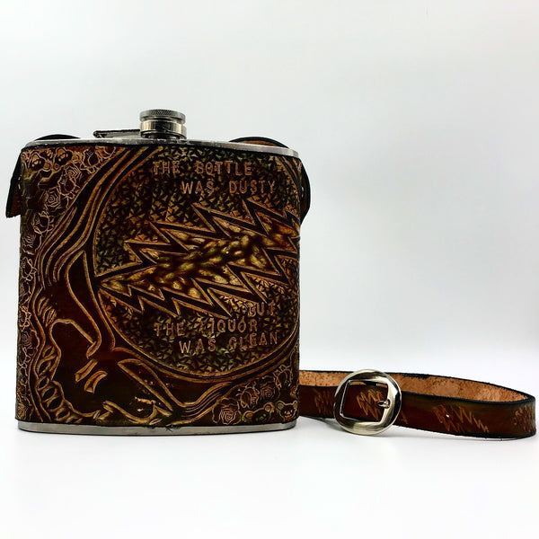Carved Leather Flask w/ Strap 40 oz-Miscellaneous Designs