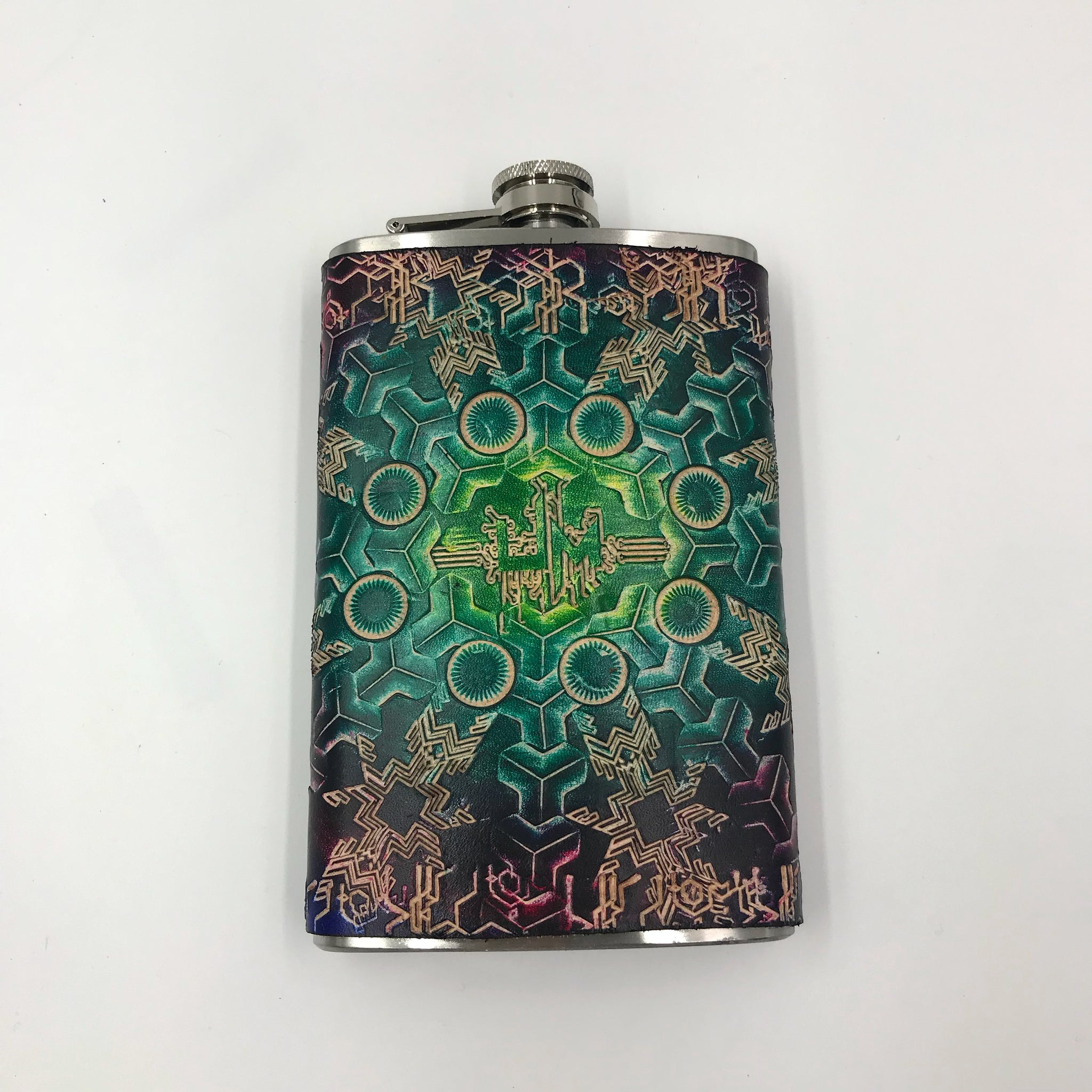 Stamped Leather Flask- Umph Love