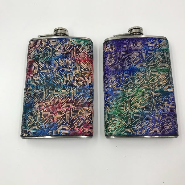 Stamped Leather Flask- Circuit Board