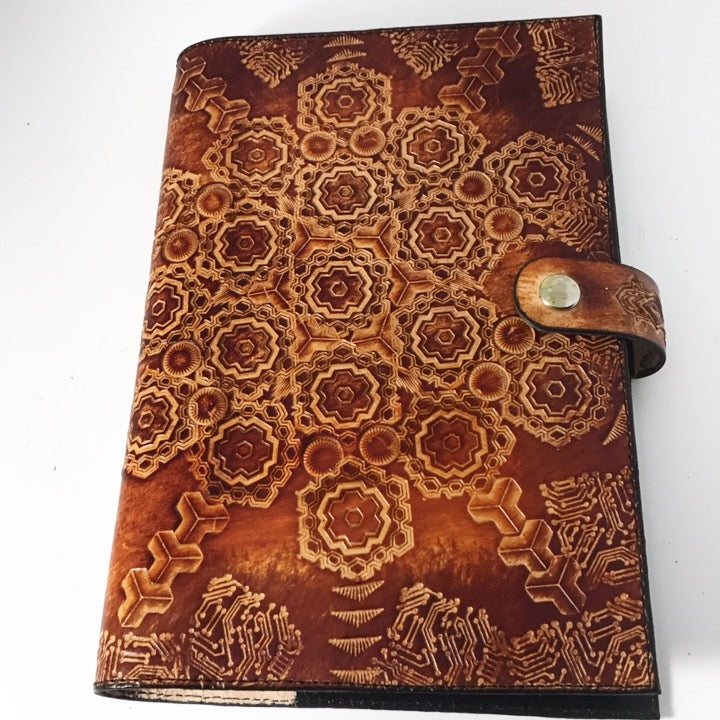 Stamped Leather Journal-Geometric Mandala
