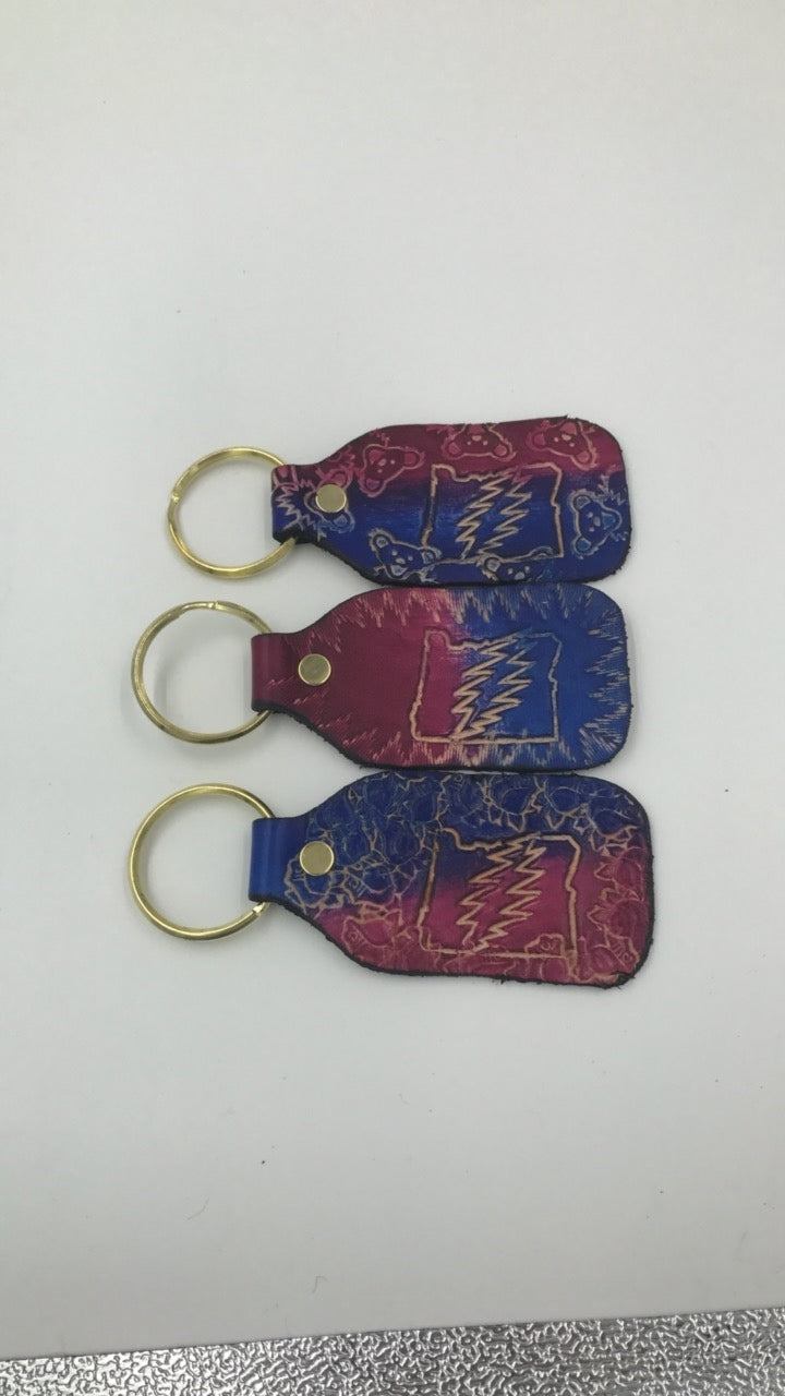 Stamped Leather Keychain-Oregon