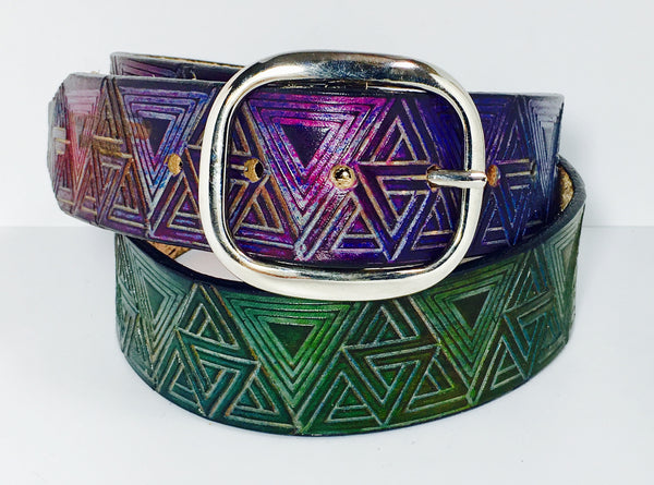 Stamped Leather Belt- Ad Exporata Triangle