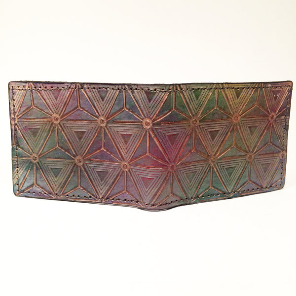 Stamped Leather Bifold Wallet-Tetrahedron Geometry Grid