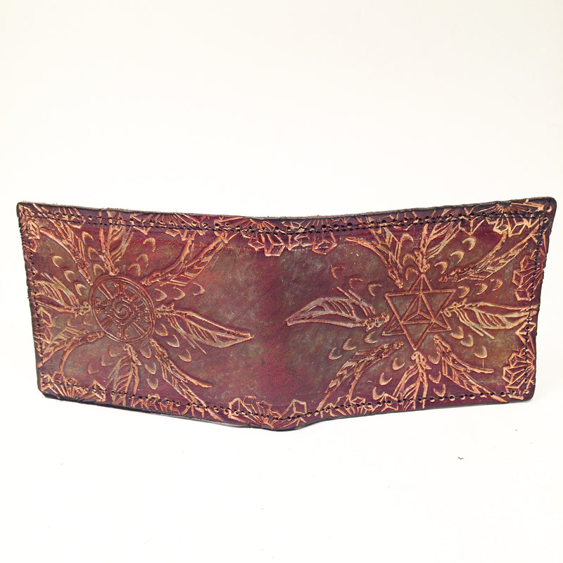 Stamped Leather Bifold Wallet-Crystals, Feathers, and Geometry