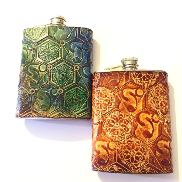 Stamped Leather Flask- Cheese