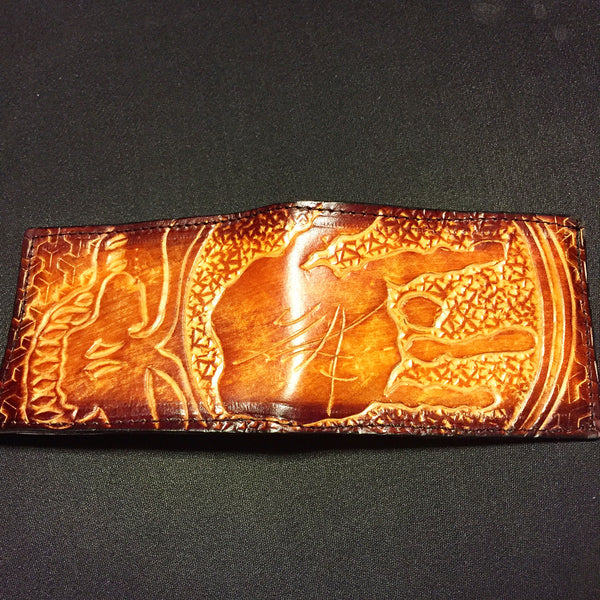 Carved Leather Bifold Wallet- Stealie